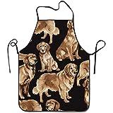DSFA Golden Retriever Einstellbare Schürze Mit Taschen Schwarz 100% Polyester Twill Naht Kochen Küche Restaurant Uniform Schürzen Für Männer Frauen