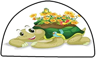 Bathroom Rug Kitchen Carpet Reptile,Funny Floral Turtle Talking with Colorful Humming Birds Tortoise Ninja Home Decoration,Multi,W35 x L24 Half Round Large Area Rugs