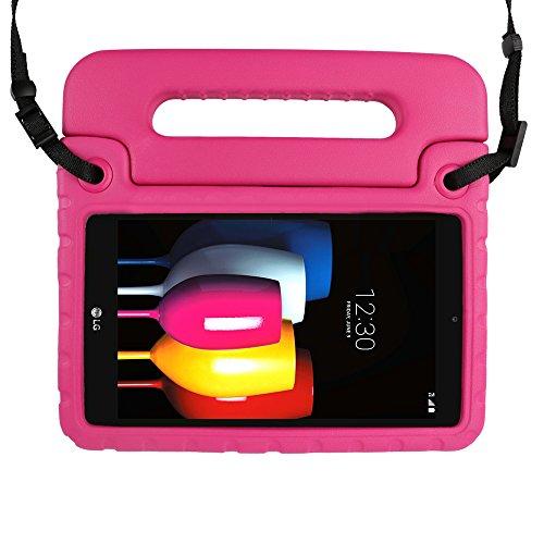 SIMPLEWAY Case for LG G Pad F2 8.0 / LG G Pad X2 8.0 PLUS, Shoulder Strap Lightweight Handle Stand Cover Case Fit LG GPad F2 8.0 Sprint LK460 / LG GPad X2 8.0 PLUS V530 8inch Tablet 2017 Release, Rose