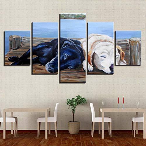 YXBNB 5 lienzos 5 Piezas/Juego Pareja Perros están durmiendo Carteles de Arte de Pared para Sala de Estar HD Pintura de Lienzo Decoración para el hogar Imágenes modulares (sin Marco)
