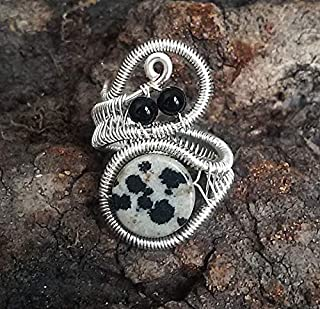 Dalmatian Jasper and Black Onyx Silver Ring for Women, Wire wrapped jewelry handmade