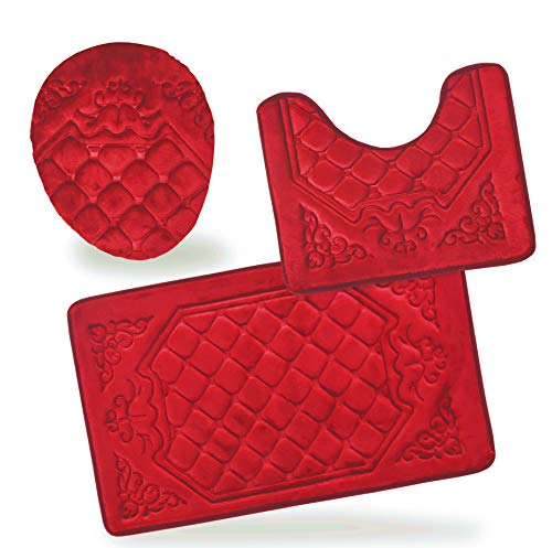 All American Collection 3PC Memory Foam Bath Mats Soft Plush Crown Design Anti-Slip Shower Bathroom Contour Toilet Lid Cover Rugs (Red)