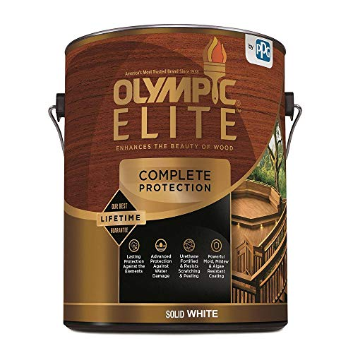 Olympic Elite Advanced Solid Color Stain and Sealant in One Advanced 1-Gallons 80301 White Base 1