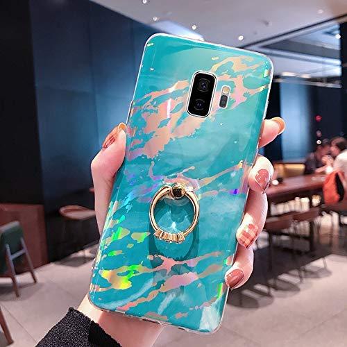 NSSTAR Compatible avec Samsung Galaxy S9 Coque 3D Motif Marbre Coque Souple TPU Case avec Support Bling Glitter Diamant Strass Coque Silicone Ultra-Mince Antichoc Bumper Etui,Bleu