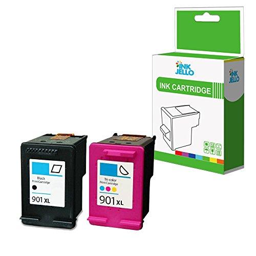 InkJello Remanufactured Inchiostro Cartuccia Sostituzione per HP Officejet J4680c J4680 J4660 J4624 J4580 J4585 J4540 J4550 J4524 J4535 4500 4500 G510g 4500 901XL (Nero/Colore 2-pacco)