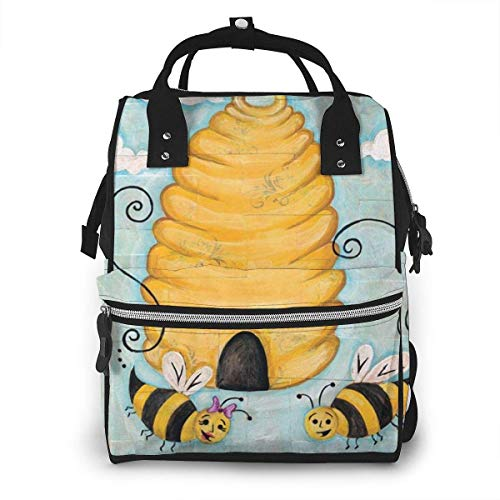 UUwant Sac à Dos à Couches pour Maman Large Capacity Diaper Backpack Travel Manager Baby Care Replacement Bag Nappy Bags Mummy Backpack,(Bee Happy Cute Bee Hive Garden Banner