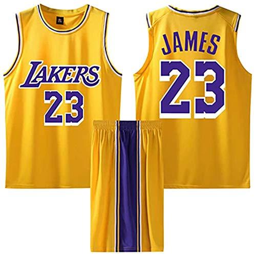 BASPORT Lakers James # 23 Basket ,Abbigliamento Genitore-Figlio per Sportivo da Basket per Adulti Completo da uomoJersey,Maglia da Basket (Giallo, XL)
