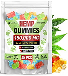 Premium Hemp Gummies 150,000MG High Potency – Organic Sugar-Free Hemp Oil Bears for Anxiety & Stress Relief – Improve Sleep, Mood, Reduce Inflammation – Efficient for Pain Relief & Joint Mobility