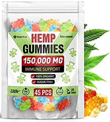 Premium Hemp Gummies 150,000MG High Potency – Organic Sugar-Free Hemp Oil Bears for Anxiety & Stress Relief – Improve Sleep, Mood, Reduce Inflammation – Efficient for Pain Relief & Joint Mobility from NaturaLab