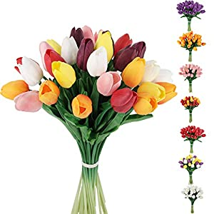 C APPOK 30pcs Artificial Tulips Flowers Fake Latex Tulip Stems – Real Touch Faux Tulips Flower for Easter Spring Wedding Bouquet Centerpiece Floral Arrangement Cemetery Table Decor