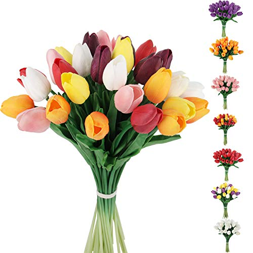 C APPOK Artificial Tulips Flowers Fake Latex Tulip Stems - 30pcs Real Touch Faux Colorful Tulips Flower for Easter Spring Wedding Bouquet Centerpiece Floral Arrangement Cemetery Table Decor