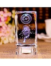 ABCBCA Estrella del Zodiaco 3D Cubo de Cristal Grabado de Bloques de Vidrio Figurines Miniaturas Craft Decoración de cumpleaños Ornamento del Regalo (Color : Gemini, Size : Cube with LED Base)