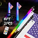 Teochew-LED 2PCS 4FT Smoked Black LED Whip Lights with RF Remote Control Spiral RGB Dancing/Chasing Light Antenna LED Whips for UTV ATV Off Road Polaris RZR Truck 4X4 SXS Can-am Dune Vehicle