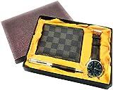 Estuche de regalo para hombre: Incluye reloj, bolígrafo, cartera y cinturón; Juego para graduación, marrón