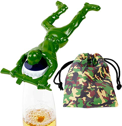 Army Man Bottle Opener. Includes Camouflage Draw String Gift or Storage Bag. Unique Gifts for Men by Qualitas Products