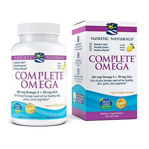 Nordic Naturals Complete Omega, Lemon Flavor - 565 mg Omega-3 - 60 Soft Gels - EPA & DHA with Added GLA - Healthy Skin & Joints, Cognition, Positive Mood - Non-GMO - 30 Servings