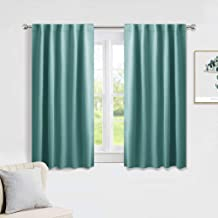 PONY DANCE Kitchen Blackout Curtains - Home Decoration Light Block Curtains & Draperies Window Coverings Short Drapes with Back Tab for Bedroom, 42-inch by 45-inch, Sea Teal, 2 Panels