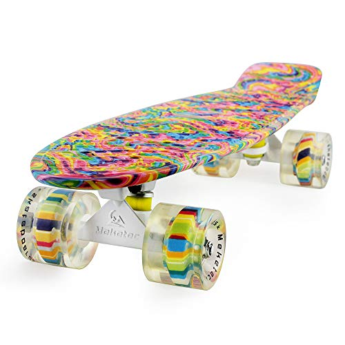 Skateboard Dog 22 inch Retro Mini Skateboards Kids Board for Boys Girl Youth Beginners Children Toddler Teenagers Adults 5 to 6 Year Old (Bending Color Lines)