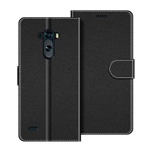 COODIO Handyhülle für LG G3 Handy Hülle, LG G3 Hülle Leder Handytasche für LG G3 Klapphülle Tasche, Schwarz