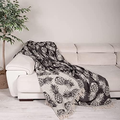 Milam London 100prozent Baumwolle Bohemian King Size Tagesdecke Bettüberwurf mit Quasten Wendedecke Boho Decke Ananas Muster 220x240cm Anthrazit
