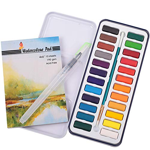 Watercolor Cake Set by Falling in Art, 24 Colors with 2 Water Brushes and 10 Sheets Watercolor Pad for Artists and Starters