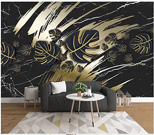 Papel Pintado Pared Dormitorio Marmoleado Artístico De Hojas Tropicales Doradas Negras Papel Pintado Pared 3D Papel Pared Mural Pared Fotomurales Decorativos Pared Murales 300x210cm