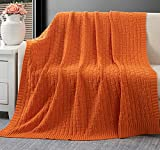 RUDONG M Orange Cotton Cable Knit Throw Blanket, Cozy Warm Knitted Couch Cover Blankets, 60 x 80 Inch