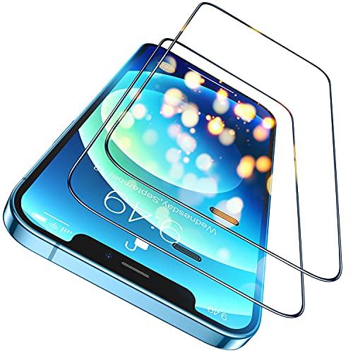 Humixx Kompatibel mit iPhone 12 Panzerglas | iPhone 12 Pro Panzerglas, (6.1 Zoll) Upgrade 3D Staubschutz in Industriequalität Vollabdeckung 9H gehärtetes HD Schutzfolie(2 Stücke)