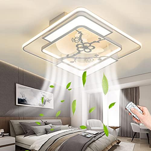 Ventilador De Techo LED Con Iluminación Moderno Luz De Techo Ventilador De Velocidad Del Viento Ajustable Lámpara De Techo Regulable Con Luz De Control Remoto Para Sala De Estar Dormitorio (C,Square)