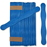"Wooden Blue 8"" Fan Handles, Wedding Programs, Paint Mixing, Pack 50, Jumbo Craft Popsicle Sticks for Auction Bid Paddles, Wooden Wavy Flat Stems for Any DIY Crafting Supplies Kit, by Woodpeckers"