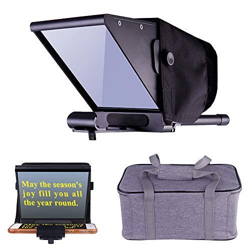 RUNGAO Mini-Teleprompter, Einstellbarer Teleprompter-Strahlteiler für das Aufnehmen von Interviews zu Hause, DSLR-Video-Teleprompter mit Tragetasche