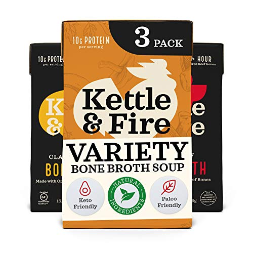 Kettle and Fire Mushroom Chicken, Beef, and Chicken Bone Broth Variety Pack, Keto, Paleo, and Whole 30 Approved, Gluten Free, High in Protein and Collagen, 3 Pack
