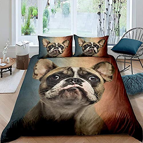 HUA JIE Double Bed Cover Set Kids Dog Duvet Cover Set, Funny Pug Pattern Bedding Set Cute Puppy Animal Comforter Cover For Children Boys Girls Room Decor, Brown Soft Microfiber