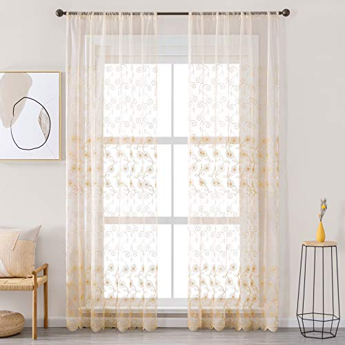 Jiyoyo Beige Lace Sheer Curtains for Living Room Floral Design Embroidery 84 inches Long Rustic Voile Window Curtain Drapes for Girls Bedroom Rod Pocket,1 Panel