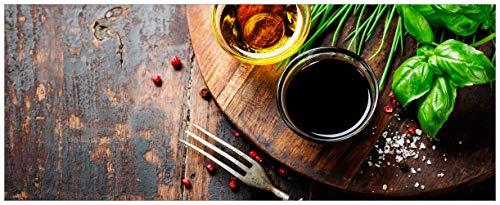 Wallario Glasbild Kräuter, Öle und Gewürze auf einem Holzbrett - 32 x 80 cm in Premium-Qualität: Brillante Farben, freischwebende Optik