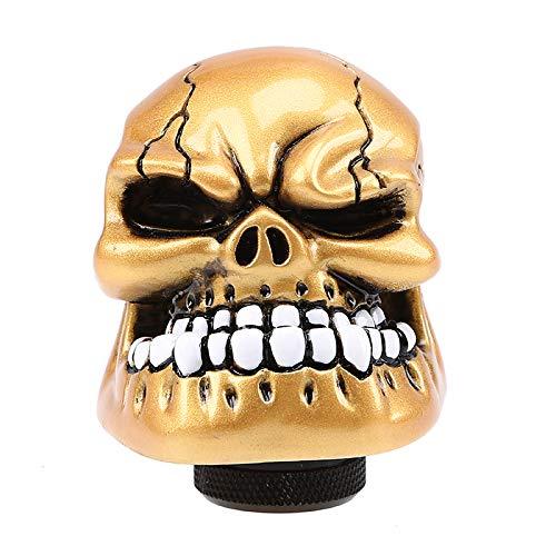 Pomo de cambio de engranajes esqueleto cabeza de cráneo universal 5 6 velocidades palanca de cambios adaptador de ajuste interior del coche pieza modificada personalizada accesorio auto oro