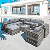 Oseasons® Malta Rattan 9 Seat U-Shape <span class='highlight'>Garden</span> Sofa <span class='highlight'>Furniture</span> Set in Walnut
