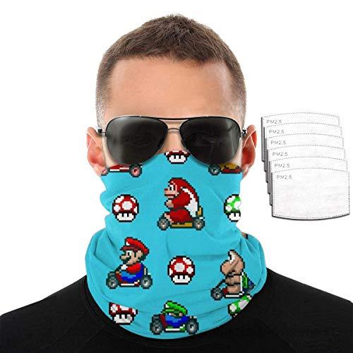 ngxianbaimingj Super Mario Pixel Retro Games Unisex Face Cover Bandanas Kopfbedeckung Halstuch Balaclava mit 6 Filter