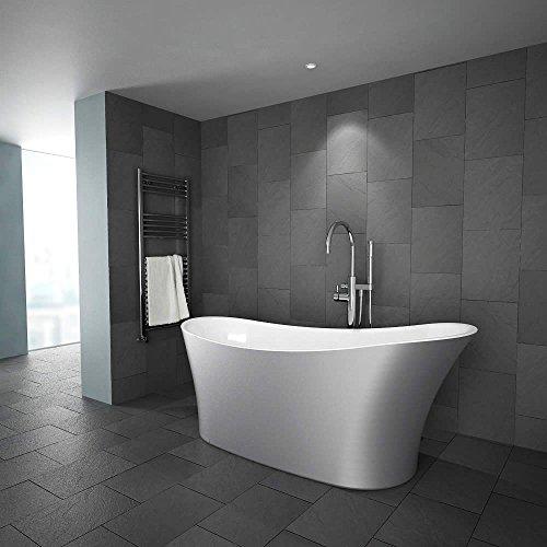 Hudson Reed Freistehende Badewanne Omsa Silber - Acrylbadewanne in Silber und Weiß - 1710 x 745 mm - 215 Liter Fassungsvermögen
