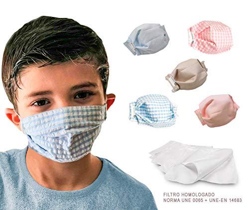 tapidecor Basic Children Pack 5 MASCARILLAS Infantiles FACIALES DE Tela Lavable Reutilizable 2 Capas + Bolsillo para Filtro. Doble Ajuste Elastico