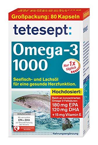 tetesept Omega-3 1000 - Seefisch- und Lachsöl Kapseln - Hochdosierte Omega 3 Fettsäuren DHA, EPA & Vitamin E - Unterstützung des Herz-Kreislauf-Systems - 1 x 80 Stück (Nahrungsergänzungsmittel)