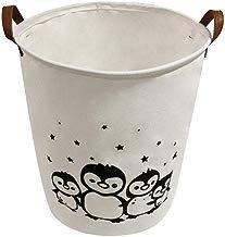 Sentovac Laundry Basket Waterproof Round Collapsible Large Sized Laundry Hamper Bucket,Dirty Clothes Bin Storage Organizer Toy Collection,Canvas Storage Basket Stylish Cartoon Design(Penguin 2)