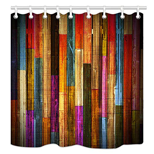 Vintage Colorful Wooden Shower Curtains, Grunge Rustic Planks Barn House Wood Art Print, Polyester Fabric Waterproof Farm Shower Curtain, Bathroom Accessory Sets, Hooks Included (70X70in)