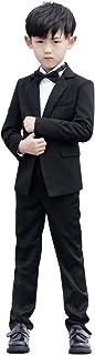 HIMOE フォーマルスーツ 男の子 長袖 子供服 入学?入園スーツ 卒業式 結婚式 発表会 七五三 演出 演奏会 誕生日 (120サイズ, 四点セット(コート+シャツ+蝶ネクタイ+ズボン)))