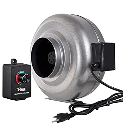 iPower 6 Inch 442 CFM Duct Inline Fan HVAC Exhaust Blower with Variable Speed Controller