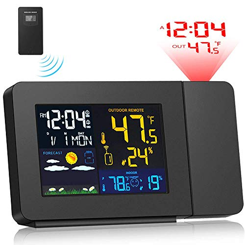 Xxsmile Projektionswecker im Schlafzimmer mit Wetterstation, kabellosem Innen- und Außenthermometer, Temperatur- und Feuchtigkeitsüberwachungs-Hygrometer