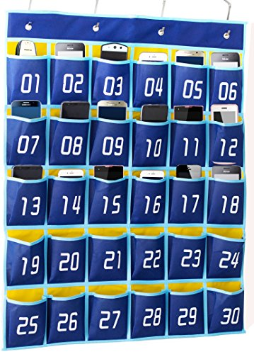 KIMBORA Numbered Pocket Chart Classroom Organizer for Cell Phones Calculator Holders (30 Pockets, Blue Pockets)