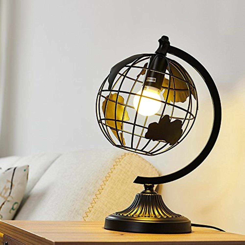 Nordic Minimalist Runde Schmiedeeisen Tischlampe Persnlichkeit Kreative Wohnzimmer Schlafzimmer Studie Schreibtischlampe Globus Thema Tischleuchte (Farbe   Schwarz)
