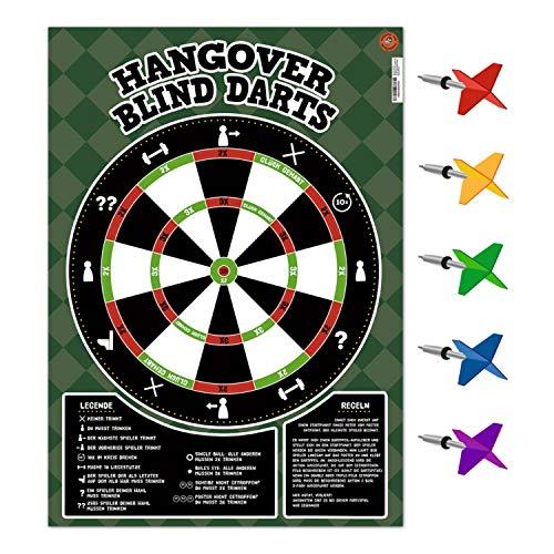 avandu Hangover Blind Darts Trinkspiel mit 65 Dartpfeil-Aufklebern - Partyspiel Saufspiel