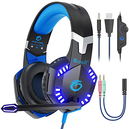VersionTECH. G2000 [Updated] Stereo Gaming Headset for Xbox One PS4 PC,Surround Sound Over-Ear Headphones with 50mm Drive Unit,Noise Cancelling Mic, LED Lights for Laptop, Mac,Nintendo Switch Game Headsets